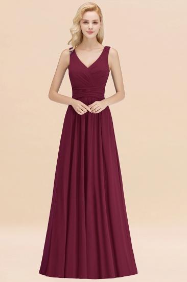 Modest Sleeveless V-Neck Long Chiffon Bridesmaid Dress Online with Ruffle_44