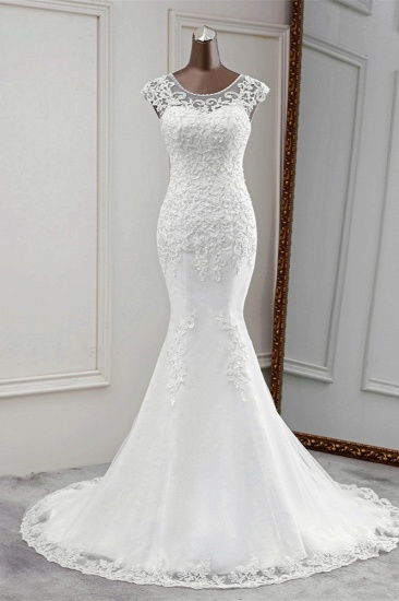 Gorgeous Jewel Sleeveless White Lace Mermaid Wedding Dresses with Appliques_1