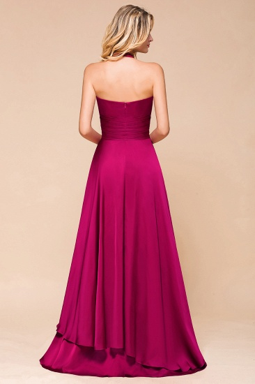 Fuchsia Halter Chiffon Bridesmaid Dresses Long Online_3