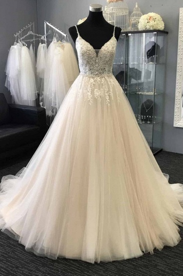 Gorgeous Sweetheart Lace Top White Long Wedding Dress Spaghetti Straps Sleeveless Bridal Gowns On Sale_1