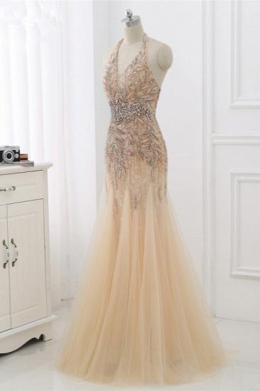 BMbridal Elegant Tulle Halter Rhinestones Mermaid Prom Dresses Sleeveless Appliques Online_4