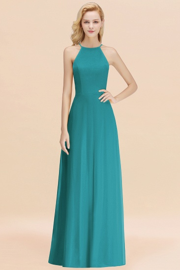 Modest High-Neck Yellow Chiffon Affordable Bridesmaid Dresses Online_32