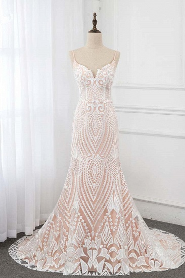 Sexy Spaghetti Straps Appliques Ivory Wedding Dresses V-Neck Sleeveless Bridal Gowns