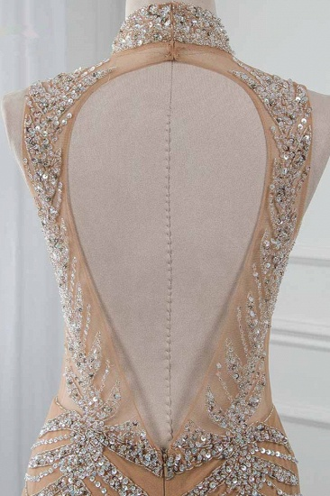 Glamorous High-Neck Beadings Appliques Prom Dresses with Rhinestones_6