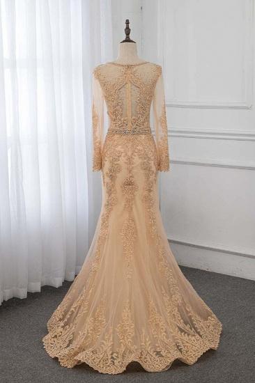 BMbridal Luxury Jewel Long Sleeves Mermaid Prom Dresses with Rhinestone Appliques Online_3