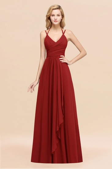 BMbridal Affordable Chiffon Burgundy Bridesmaid Dress With Spaghetti Straps_48