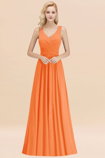 Modest Sleeveless V-Neck Long Chiffon Bridesmaid Dress Online with Ruffle_15