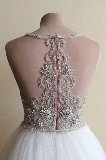BMbridal Glamorous White Tulle Crystal Beaded Wedding Dress Halter Seeveless Bridal Gowns On Sale_4