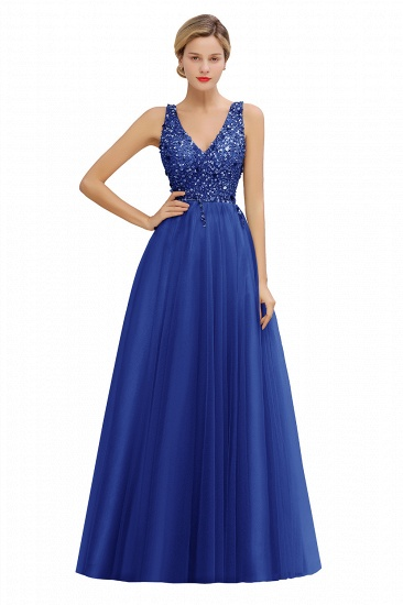 BMbridal Glamorous V-Neck Sleeveless Prom Dress Long Tulle Evening Gowns With Crystals_3