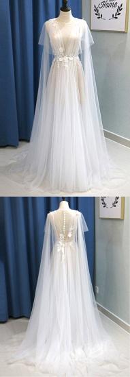 BMbridal Glamorous White Tulle V-Neck Beach Wedding Dress A Line Flower Bridal Gowns On Sale_7