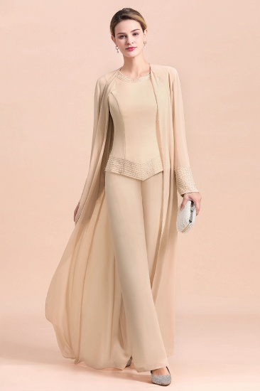 Champagne Long Chiffon Mother of the Bride Dress Two Pieces With Jacket_5
