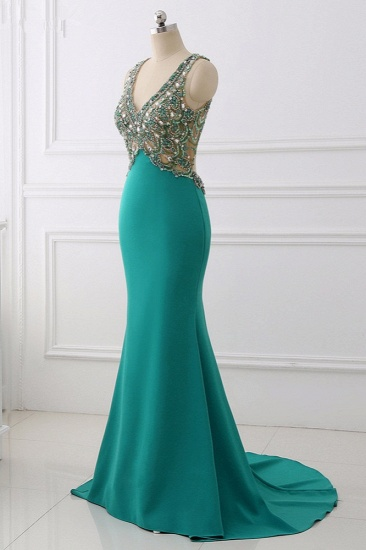 Sexy V-Neck Appliques Mermaid Prom Dresses Sleeveless with Crystals On Sale_4