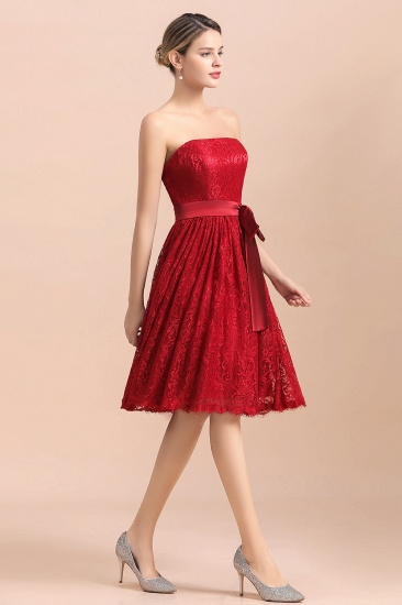 BMbridal Pretty Strapless Red Lace Bridesmaid Dresses Sleeveless Short Wedding Party Dress with Sash_6