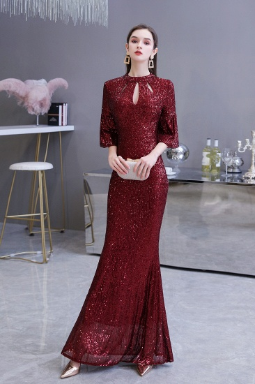 BMbridal Burgundy Short Sleeve Sequins Prom Dress Long Party Gowns Online_6