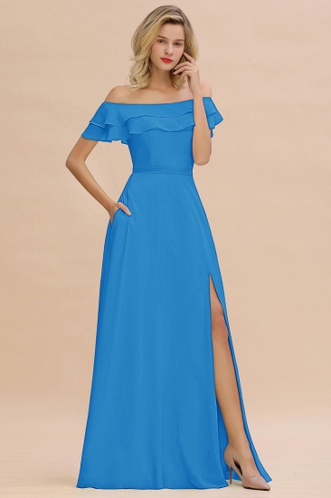 Exquisite Off-the-shoulder Slit Mint Green Bridesmaid Dress With Pockets_25