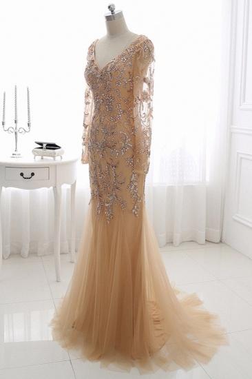Elegant Tulle Appliques Mermaid Prom Dresses V-Neck Sleeveless Rhinestones Party Dresses On Sale_4
