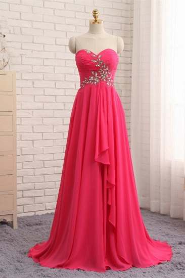 Chic Strapless Sweetheart Watermelon Prom Dresses A-Line Ruffles Crystals Evening Dresses Online