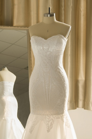 Chic Strapless Sweetheart Ivory Mermaid Prom Dresses Sleeveless Appliques Sequined Evening Dresses On Sale_5