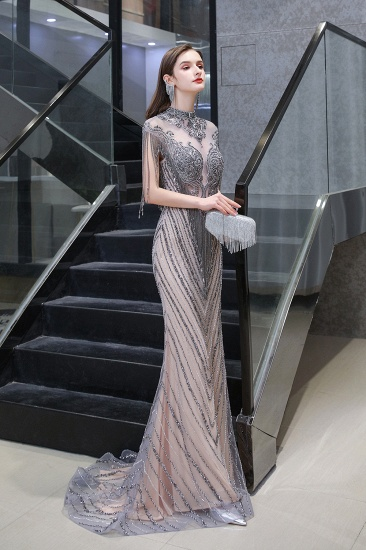 BMbridal Luxurious Crystal Beadings Mermaid Prom Dress Long On Sale_4