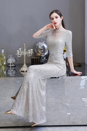 Silver Half Sleeve Sequins Prom Dress Mermaid Long Evening Gowns_12