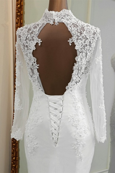 BMbridal Elegant Long Sleeves Lace Mermaid Wedding Dresses Appliques White Bridal Gowns with Beadings_7