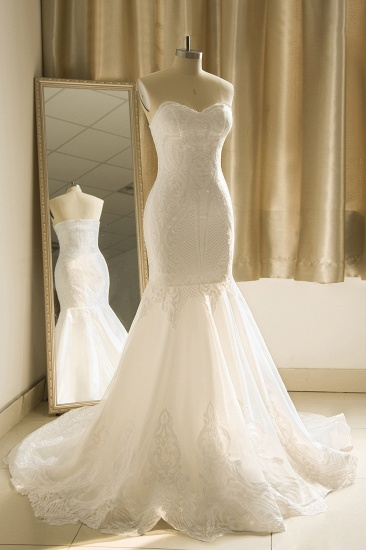 Chic Strapless Sweetheart Ivory Mermaid Prom Dresses Sleeveless Appliques Sequined Evening Dresses On Sale_4