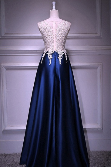 Elegant Jewel Dark Navy Beadings A-Line Prom Dresses Sleeveless Appliques Ruffle Party Dresses On Sale_3