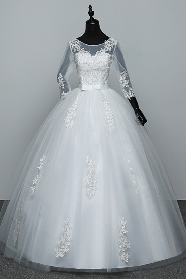 Gorgeous Jewel Tulle Lace White Wedding Dresses 3/4 Sleeves Appliques Bridal Gowns On Sale