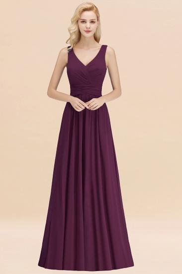 Modest Sleeveless V-Neck Long Chiffon Bridesmaid Dress Online with Ruffle_20