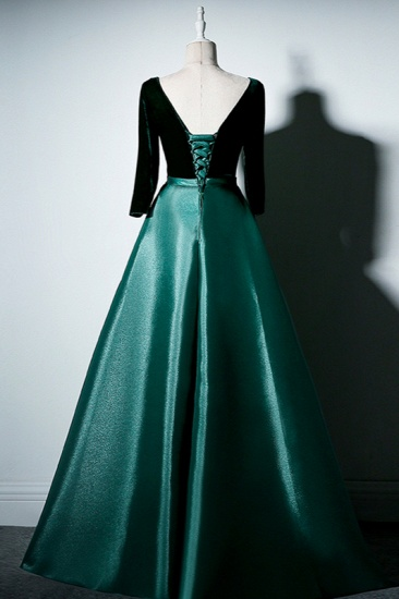 Elegant V-Neck Satin A-Line Prom Dresses Long Sleeves Party Dresses On Sale_3