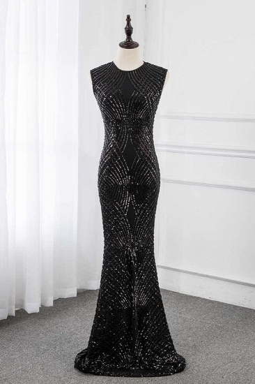 BMbridal Gorgeous Jewel Sleeveles Black Mermaid Prom Dresses with Beadings_2