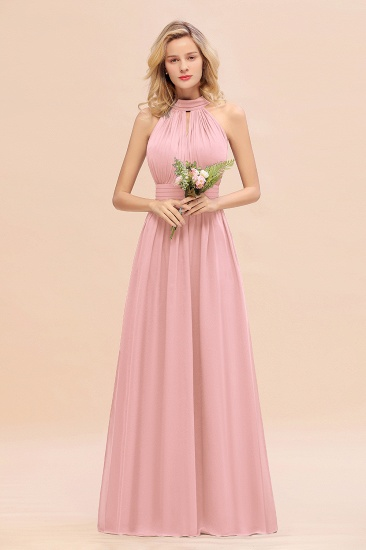 Glamorous High-Neck Halter Bridesmaid Affordable Dresses with Ruffle_4