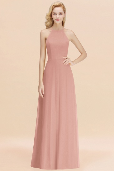 Modest High-Neck Yellow Chiffon Affordable Bridesmaid Dresses Online_6