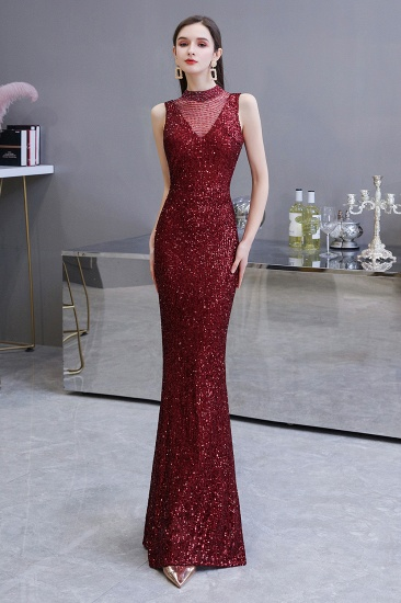 BMbridal Gorgeous Burgundy Sequins Long Mermaid Prom Dress On Sale_4