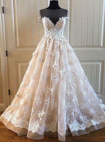 BMbridal Elegant Creamy Lace Sweetheart Long Wedding Dress A Line Appliques Bridal Gowns On Sale_3