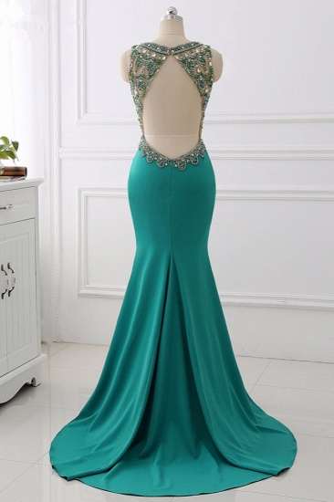 Sexy V-Neck Appliques Mermaid Prom Dresses Sleeveless with Crystals On Sale_3