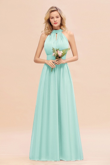 Glamorous High-Neck Halter Bridesmaid Affordable Dresses with Ruffle_36