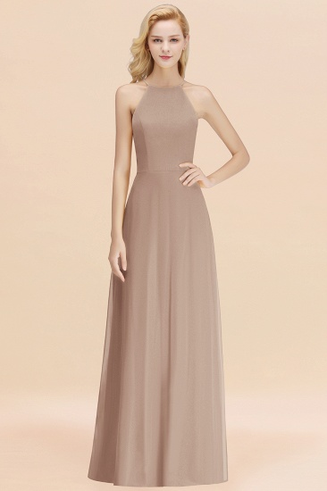 Modest High-Neck Yellow Chiffon Affordable Bridesmaid Dresses Online_16