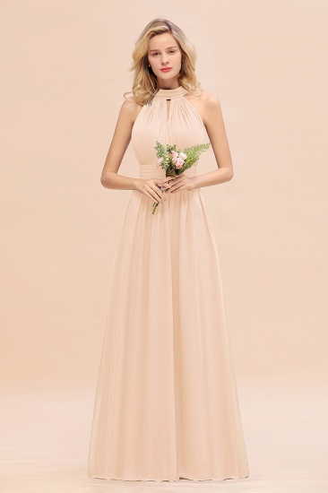 Glamorous High-Neck Halter Bridesmaid Affordable Dresses with Ruffle_5