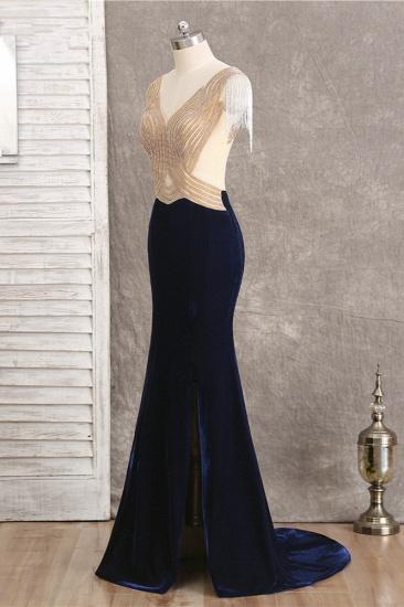 BMbridal Chic V-Neck Mermaid Black Prom Dresses Sleeveless Beadings with Tassels Online_4