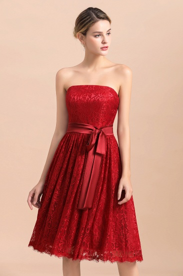 BMbridal Pretty Strapless Red Lace Bridesmaid Dresses Sleeveless Short Wedding Party Dress with Sash_7