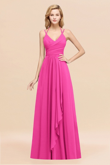 BMbridal Affordable Chiffon Burgundy Bridesmaid Dress With Spaghetti Straps_9