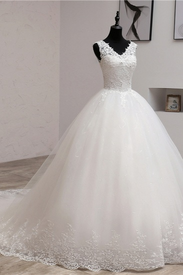 BMbridal Ball Gown V-Neck White Tulle Wedding Dresses Sleeveless Lace Appliques Bridal Gowns with Beadings_4