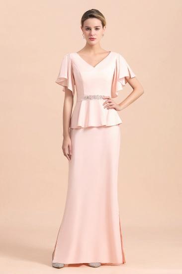 BMbridal Glamorous V-Neck Front Slit Mother of Bride Dresses with Beadings Sash_4