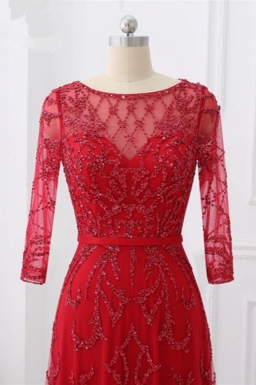 Glamorous Red Tulle Jewel Appliques Prom Dresses Long Sleeves with Rhinestones On Sale_5