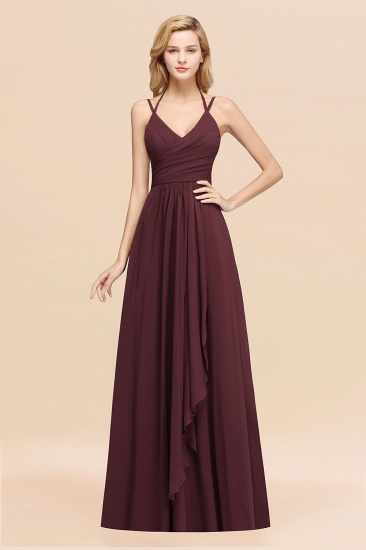 BMbridal Affordable Chiffon Burgundy Bridesmaid Dress With Spaghetti Straps_47