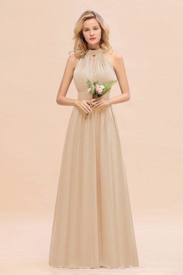 Glamorous High-Neck Halter Bridesmaid Affordable Dresses with Ruffle_14