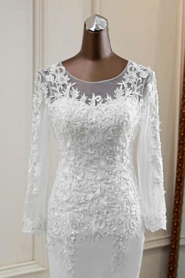 BMbridal Elegant Jewel Lace Mermaid White Wedding Dresses Long Sleeves Appliques Bridal Gowns_6