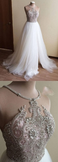 BMbridal Glamorous White Tulle Crystal Beaded Wedding Dress Halter Seeveless Bridal Gowns On Sale_5