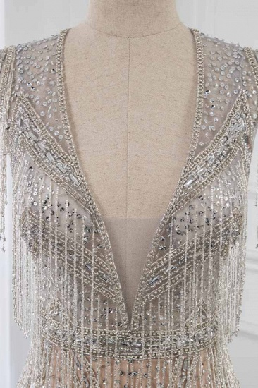 Luxury V-Neck Silver Mermaid Prom Dresses with Crystals On Sale_5
